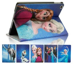 Wholesale Ipad2 Cartoon Case - Frozen Elsa Anna cartoon iPad case ipad Air cases ipad2 iPad 3 iPad4 covers PUfre Leather Case Stand covers fast shipping 9 styles