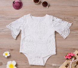 Wholesale Dropshipping Baby Clothes - Dropshipping Baby INS flower lace Rompers Girl Cotton Solid color Bat sleeve lace romper 2018 New baby clothes 0-2years