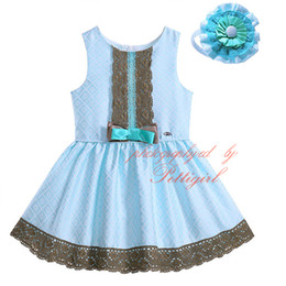Wholesale G Wholesale Kids Clothing - Pettigirl Hot Sale Boutique Lace Cyan Color Girls Tank Dresses With Hairbands Bow Decoration Plaid Kids Sleeveless Clothes G-DMGD905-775