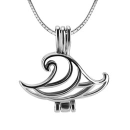 Wholesale sterling silver wave - 3pcs wave shape sterling silver cage pendant 20*8*21mm Fashion Jewelry