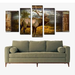 Wholesale Jungle Oil Paintings - 5 Picture Combination Wall Art Deer Buck In Jungle Painting The Picture Print On Canvas Animal Pictures For Home Decoration