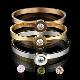 Wholesale Stainless Bangle Cz Bracelet - Wholesale 7 colors Top Quality 316l Stainless Steel Interchangeable CZ Stone Bangle Bracelet For Women Party Gift