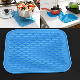 Wholesale Wholesale Bowls Bamboo - 29.5*23.5CM Silicone Dish Drying Mat Square anti-skid Pad Kitchen Cup Pot Bowl Plate Table Mats High Quality Heat Resistant Silicone WX-C59