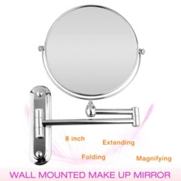 Wholesale Wall Mounted Makeup Mirrors - New 8inch Chromed Wall Mounted Double Side Bathroom Shaving Oval Cosmetic Makeup Shower Mirror 5X Magnification