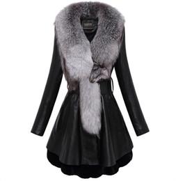 Wholesale Padded Leather Neck Collar - New Women's natural fox fur collar genuine sheepskin leather cotton-padded medium long sashes parka rex rabbir fur bottom coat casacos 4XL