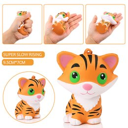 Wholesale Doll Phone Charms - New 10Pcs New 10CM Jumbo Animal Kawaii Squishy Tiger Doll Squeeze Bread Super Slow Rising Phone straps Soft Scented Cake Toys Gift
