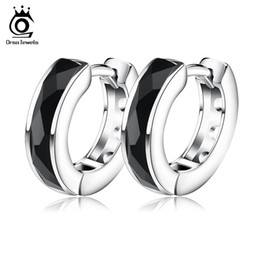 Wholesale Sterling Silver Huggie - ORSA JEWELS 2017 Top Quality Fashion Black Natural Stone Earring Lead & Nickel Free Silver Color Earrings Will Not Changed OE83