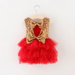 vests for party girls Coupons - Baby Girls Lace paillette Tutu Dresses 4 Color Summer Children bowknot Sleeveless for Kids Party Lace Cake Vest Sequins Dress B001