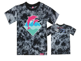 Wholesale Dolphin Silver - Free Shipping pink dolphin T Shirts logo Men Skateboard Streetwear hip hop Boy male T-Shirt Short Sleeve O Neck Mens Tees Tops