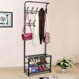 Wholesale Metal Hanger Stand - Metal Coat Clothes Shoes Hat Umbrella Bag Steel pipe Stand Rack 18 Hanger Hooks