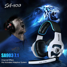 Wholesale Usb Computer Headsets - Sades Sa -903 7.1Sound Gaming Headset Usb Wired Computer Headphones Stereo Deep Bass Big Earphones With Mic For Pc Gamer Factory wholesale