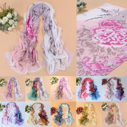 Wholesale Chiffon Neck Scarves - Wholesale- Unique fashion style Womens Peony Flower Floral Chiffon Long Soft Neck Shawl Wraps air conditioning thermal scarves