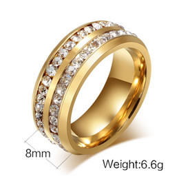 Wholesale Diamond Wedding Bands 14k - Original Gold Silver black color titanium steel material with Rhinestone diamond ring,great desing for valentine's day gift free shipping