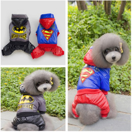 Wholesale Wholesaler Teddy Jacket - Superman Dog Pet Sweater Cheap Teddy Dog Hooded Soprts Vest Winter Pet Warm Coat 5 Size 2 Color Min Order 25PCS