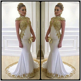 Wholesale Women Training Shorts - Luxury Long Mermaid Plus Size Evening Dresses With Gold Lace Appliques High Neckline Cap Sleeves Women Formal Dress Gowns