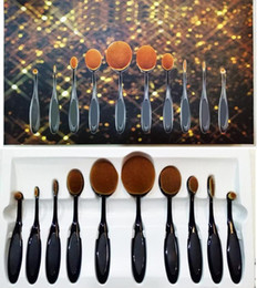 Wholesale Brush Sets Pieces - HOT Oval Makeup Brush Ana and 3brands brush Cosmetic Foundation BB Cream Powder Blush 10 pieces Makeup Tools 1# 2# DHL Free shipping