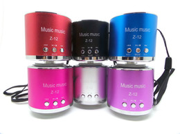 Wholesale Z12 Portable Speakers - Z12 Z-12 Handfree Wired Portable Mini Speaker Speakers Subwoofer FM Radio USB Micro SD TF Card MP3 Player