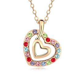 Wholesale New Swarovski Necklace - 5 Colours Made with Swarovski Elements Pendant Necklace for women Fashion Necklace New Sale Hot #101274