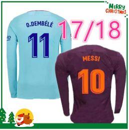 Wholesale Men Long Sleeve White Shirt - 17 18 Long sleeves MESSI SUAREZ NEYMAR JR A INIESTA jersey 2017 2018 home away 3rd shirt