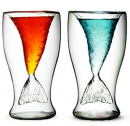 Wholesale Double Tail - Beautiful Mermaid Wine Glass Mermaid Tail Cocktail Glass Double Wall Wine Beer Whisky Coffee Cup Glassware Bar Tools 100ml