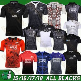 Wholesale Black Years - 2017 all New Zealand 17 18 blacks rugby jersey 2018 home away red men 2016 rugby shirts blacks Maori 100th years special edition jerseys