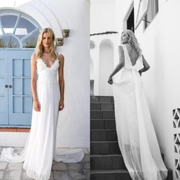 Wholesale V Top Dresses - 2016 Sexy Flowing Beach Wedding Dress Lace Appliqued Top Spaghetti Straps V Neck Backless Chiffon Boho Bridal Gowns with Ribbon