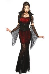 Wholesale Halloween Dress Witch - 5 PC Adult Gothic Costume Halloween Dress Costume Witch Vampire Costume Women Masquerade Party Halloween Cosplay Costume GIFT 8836