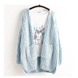 Wholesale Mori Plus Size - Wholesale- Mori Girl Spring Women Sweet Plus Size Casual Cute Loose Cardigan Solid Outerwear Lolita Kawaii Female Ruffles Sweaters U218
