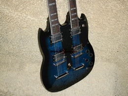 Wholesale Electric 12 String Guitar Blue - Musical instruments Newest Bule Double Neck Electric Guitar High Quality Free Shipping