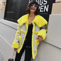 Wholesale Neon Outerwear - TXJRH Stylish Winter Hairy Shaggy Faux Fur Spliced Fuax Suede Lapel Faux Fur Neon Yellow Warm Coat Loose Mid Long Outerwear Tops