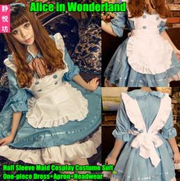 Wholesale Half One Costumes - Wholesale-Alice Wonderland Cosplay Costume Suit(One-piece Dress+Apron+Headwear),Half Sleeve Lolita Maid Loaded Uniform Clothing Plays