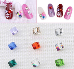 Wholesale Wholesale 3d Crystal Cubes - F003 Nail Art Accessories 3D Flat Cube Rhinestone Crystal Nail Sticker Decorate Irregular Glass Crystal Nail Sticker Wholesale