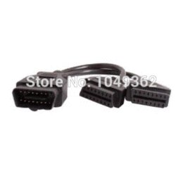 Wholesale Dual Wlan - 30CM OBDII OBD2 16 Pin Splitter Extension Cable Male to Dual Female ports Adapter Y Cable Diagnostic Tool J1962M to 2-J1962F