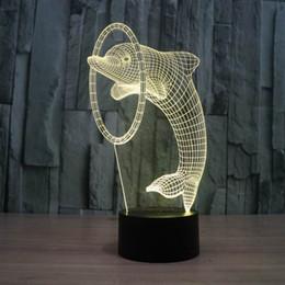 3D illusion Led night light 7colors lampada da tavolo delfino prodotti novità luci natalizie con pulsante touch bambini luce notturna da regali ginnastici fornitori