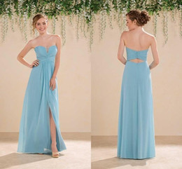 Wholesale Wedding Dresses Open Front White - Blue Sweetheart Chiffon Long Bridesmaid Dresses 2016 Sexy Open Back Maid of Honor Gowns Side Split Evening Dresses Wedding Guest Dresses