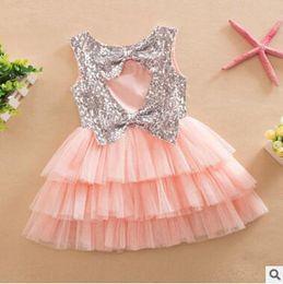 Wholesale european bohemian dresses - Girls Tiered Dress 2016 Summer Sequins Ruffle Cupcake Dress Layered Dress Baby Girl Dress Cute Bow Multilayer Dress Princess Dress 392