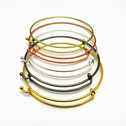 Wholesale Push Pull Plate - 2017 New Arrival Limited Free Shipping Fashion DIY Jewelry Simple Atmospheric Push Pull Ring Steel Wire 2 Color Gold And Silver Bracelet