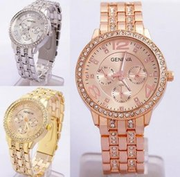 Wholesale Geneva Watch S - NEW Men Women Quartz watch fashion alloy business diamond watch women 's gold Geneva steel belt watches
