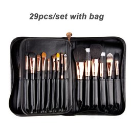 Wholesale Leather Makeup Brush Case - Sigmax Complete kit - Copper 29-pieces High Quality Makeup Brush Set With leather Case Pouch Professional Beauty makeup Tools brushes