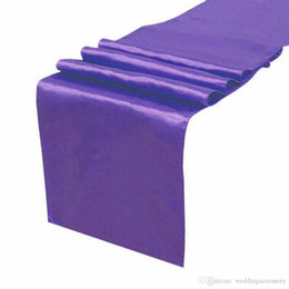 Wholesale Purple Table Runners Wholesale - 5PCS LOT Purple Satin Table Runner Wedding Cloth Runners Silk Organza Holiday Favor Party Decorations Flag -RUN