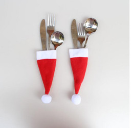 Wholesale mini santa hats - New Christmas Hat Silverware Holder Xmas Mini Red Santa Claus Cutlery Bag Party Decor Cute Gift Hat Tableware Holder Set