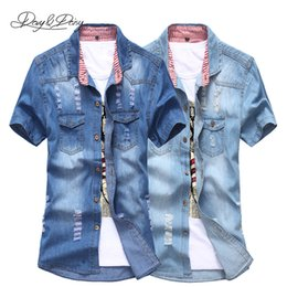 Wholesale Wash Denim Shirt - Wholesale-Hot Sale Men Denim Shirt Casual Short Sleeve Turn-Down Neck Solid Fashion Ripped Shirt Men Washed Cowboy Camisa Masculina DS-060