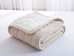 Wholesale Cable Throw - Free Shipping Knitted Blanket   Cotton Knitted Throw with Lininng Super Soft Warm Blanket Cover Double Cable Knit,120*180cm