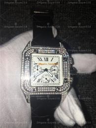 ich beobachte Rabatt Santos100 Voller Diamanten Uhr Hochwertige Chronograph Quarzwerk Luxus Mann Uhr Silber Wtahc 100xl 316 Edelstahl uhr l