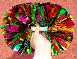 Wholesale Concert Supplies - Party carnival Cheering pom pom plastic handle Cheerleading Flower dance hand ball sports vocal concert cheerleaders ball festive supplies