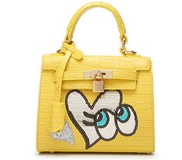 Wholesale Crocodile Cartoon - Hot Sale High Quality AAA+crocodile big eye Heart Shape Girl Cute Bag Weekender Purse Tote Travel Duffle Handbag 12Colors Choose