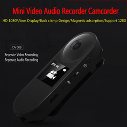 Wholesale digital pen camcorder - 5pcs lot IDV008 Mini DV Camera HD 1080P Mini Camcorder Digital Voice Pen Recorder Separate Audio Video Cam Recording With Small Display ann