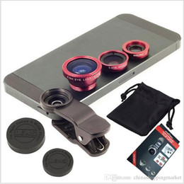 Wholesale Macro Lens Cameras - Universal Clip 3 in 1 Fish Eye Lens Wide Angle Macro Mobile Phone Camera Glass Lens Fisheye For iPhone 6 6Plus 5s for Samsung S5 S6 S7 edge