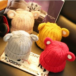 Wholesale Knit Cartoon Beanies - Knitted Baby Hat with Ears Cartoon girls hats Bear Cartoon Hats for Kids Kids Caps Christmas Baby Girl Winter Hat Warm Toddler Hat Beanies