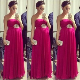 Wholesale Hot Dresses Pregnant Women - Hot Sale Fuchsia Empire Pregnant Prom Dresses 2017 Strapless Sleeveless Pleated Maternity Women Evening Formal Dress Red Carpet Celebrity